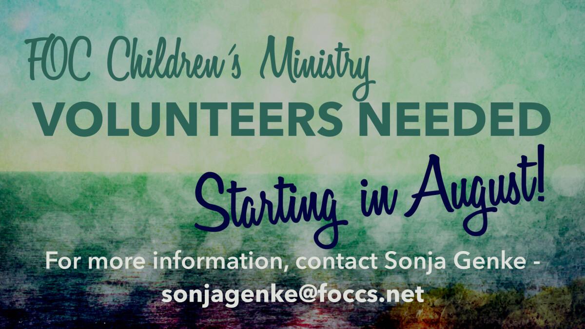 Children's Ministry Volunteers Needed
