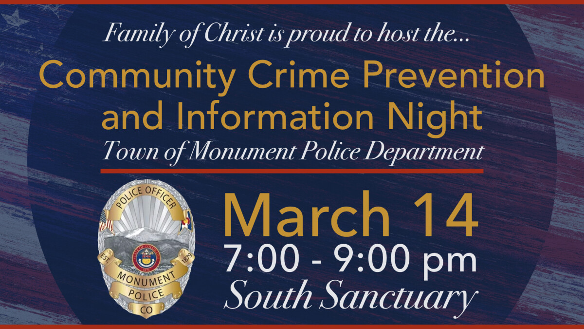 Community Crime Prevention and Information Night - Cancelled Due to Weather
