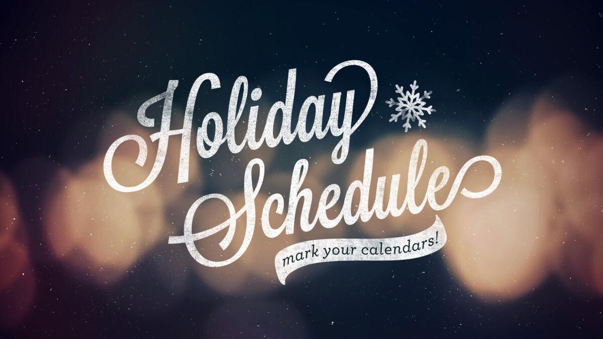 FOC Holiday Schedule 2019
